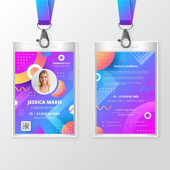 Front and back id badge template with photo