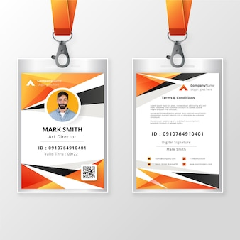 Front and back id badge template