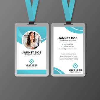 Front and back id card template with photo