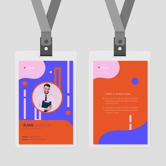 Carta d'identità anteriore e posteriore con modello di foto
