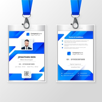 Front and back id card with picture