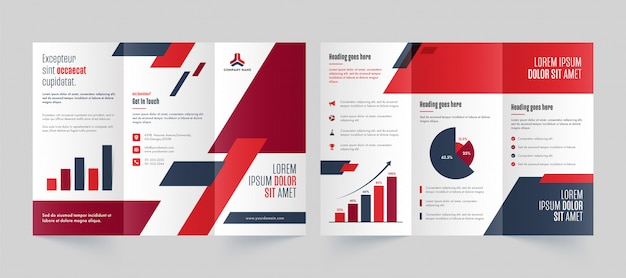 Front and back page view of business tri-fold brochure, template or leaflet design.