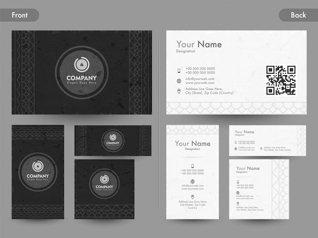 Front and back page view of creative business card, name card or visiting card set.