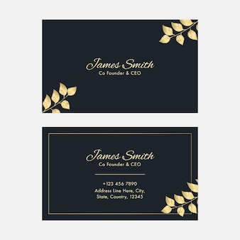 Front and back presentation of business card template with golden leaves.