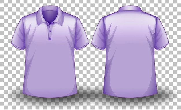 Front and back of purple polo shirt on transparent background