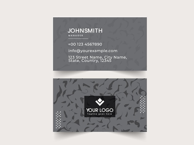 Front and back side of business card design in gray color.