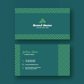 Front and back side of business or visiting card in green color.