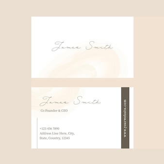 Front and back side of editable business card template on beige background.