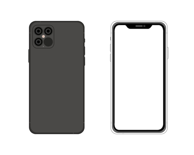 Front and back side iphone 12. simple graphic illustration. icon smartphone isolated on background. concept for app, web, presentation, ui ux development.
