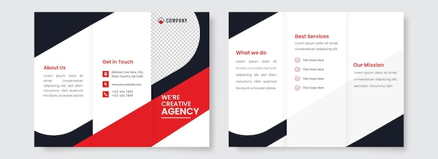 Front and back side of tri-fold brochure template design for creative agency.