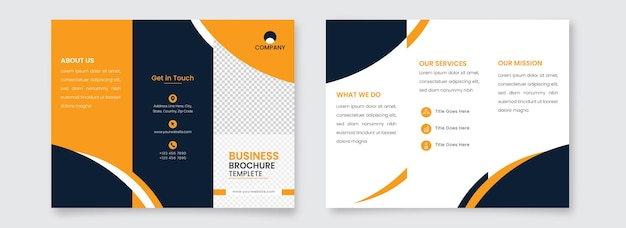 Front and back side of tri-fold brochure template layout with copy space.