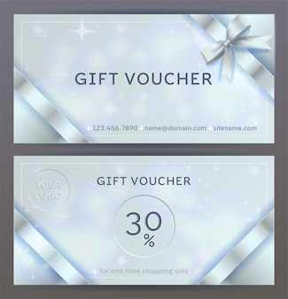 Front and back sides of luxury gift voucher with silver ribbons, bows. isolated elegant sparkling, shining template