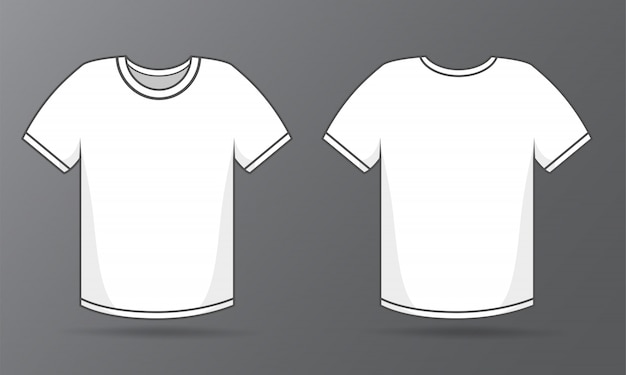 Front and back templates simple white t-shirt