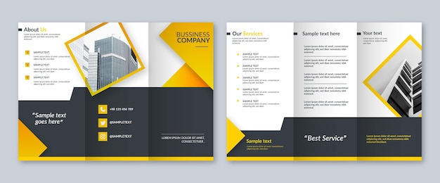 Front and back trifold brochure template with photo