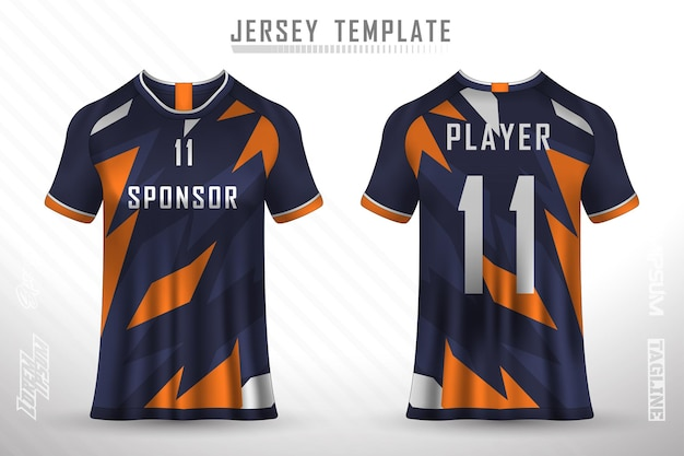 Front back tshirt design sports design for football racing cycling gaming jersey vector