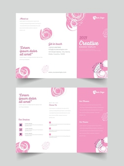 Front and back view of 2021 tri-fold brochure template design in pink and white color.