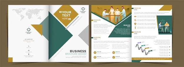 Front and back view of bi-fold brochure or template design with workplace for business concept.