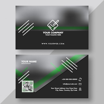 Front and back view of black and green business card