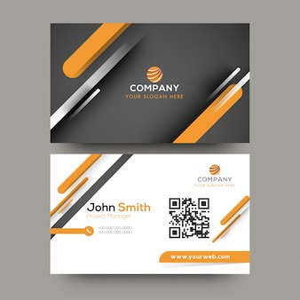 Front and back view of black, orange and white business card