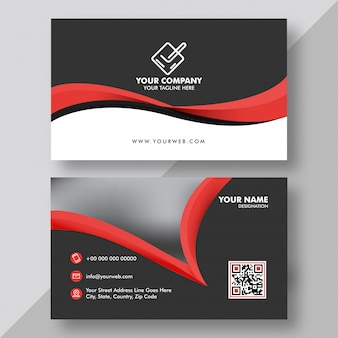 Front and back view of black and red business card