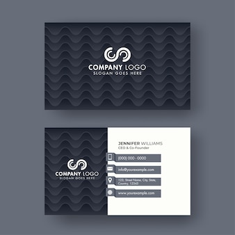 Front and back view of business card design with wavy pattern