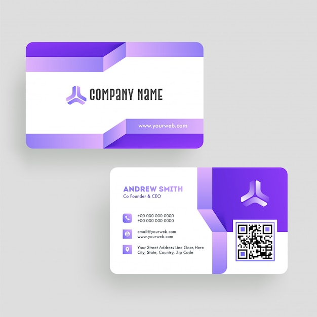 Front and back view of business card or visiting card in purple and white c