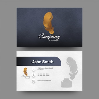 Front and back view of business card with abstract design.