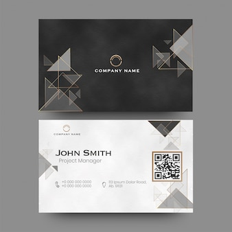 Front and back view of company card or visiting card with geometric elements.