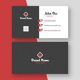 Front and back view of editable business card template with zigzag pattern.