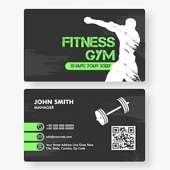 Front and back view of fitness gym business card template horizontal