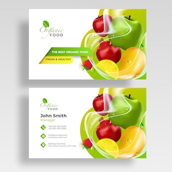 Front and back view of fruits business card