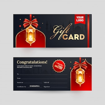 Front and back view of gift card or coupon, voucher layout with