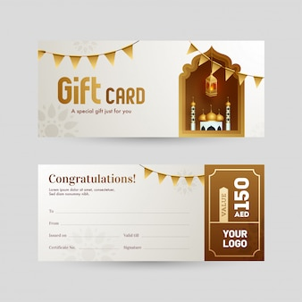 Front and back view of gift card or voucher layout with mosque f