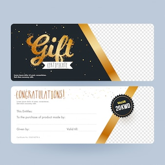 Front and back view of gift certificate with space for your prod