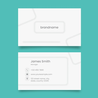 Front and back view of horizontal business card in white color.