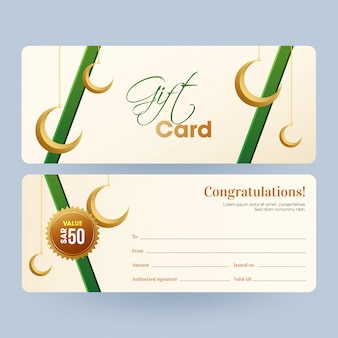 Front and back view of horizontal gift card or voucher layout wi