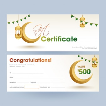 Front and back view of islamic festival gift certificate with be