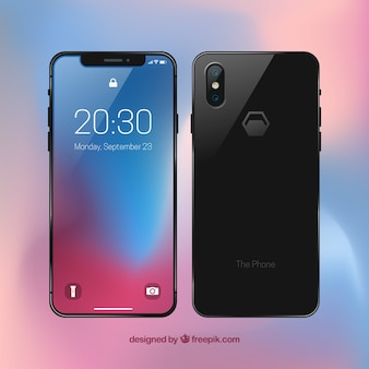 Front and back view of mobile phone