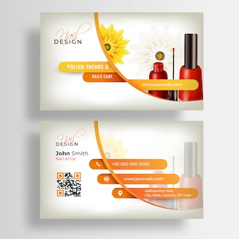 Front and back view of nail artist business card or visiting card template