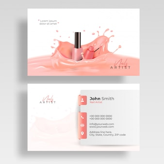 Front and back view of nail artist visiting card design