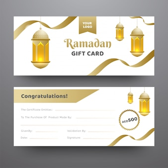 Front and back view of ramadan gift card decorated with hanging