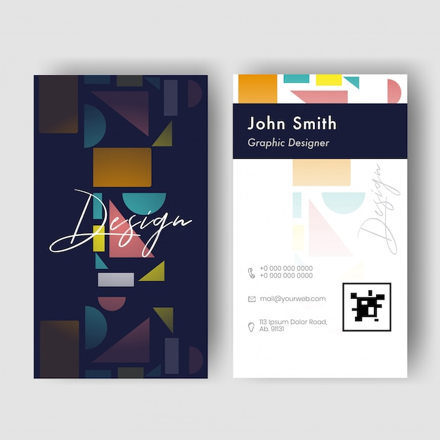 Front and back view of vertical business card  with geometric elements