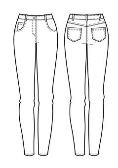 女性のジーンズの正面図、背面図。ベクトルイラスト。