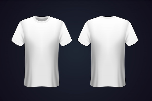 Front and back white t-shirt mockup