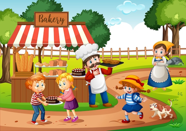 Front of bakery shop with baker in the park scene