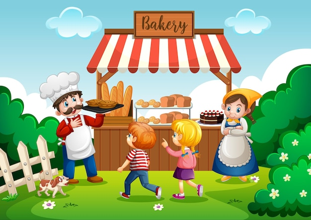 Front of bakery shop with baker in the park scene Free Vector