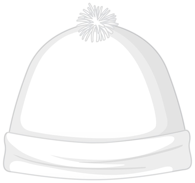 Front of basic white beanie hat isolated