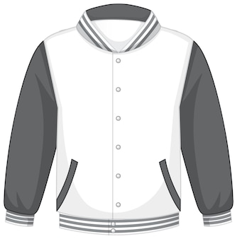 Front of basic white grey bomber jacket isolated