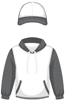 Parte anteriore della felpa con cappuccio bianca di base e berretto isolato