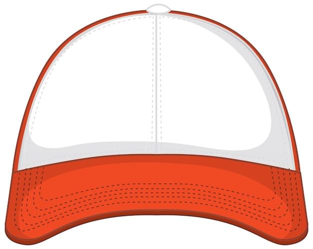 Parte anteriore del berretto da baseball arancione bianco di base isolato